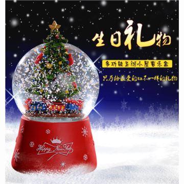 圣诞树水晶球音乐盒自动飘雪花八音盒天空之城带灯发光圣诞节日送女生