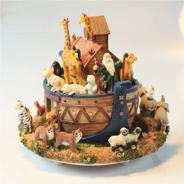 诺亚方舟音乐盒动物旋转八音盒创意精品生日礼物送男女小孩子儿童圣诞节