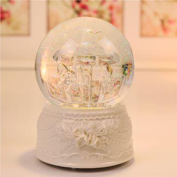 ilovest旋转木马水晶球音乐盒七彩发光八音盒雪花精品生日礼物创意送女生儿童