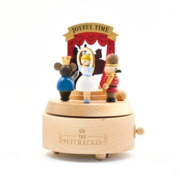 Jeancard台湾木质旋转八音盒音乐盒胡桃夹子创意生日礼物送男女朋友