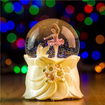 18音旋转飘雪花旋转芭蕾舞女孩水晶球音乐盒八音送创意生日结婚礼物