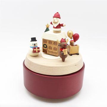 Jeancard台湾木质旋转圣诞老人麋鹿雪人八音盒音乐盒创意圣诞礼物