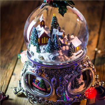飘雪花带灯雪屋旋转圣诞树火车水晶球八音盒音乐盒创意圣诞节礼物 限量版