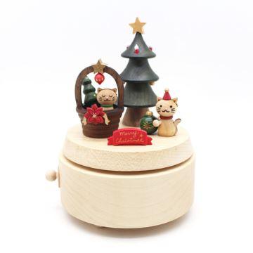 Jeancard台湾木质旋转圣诞树猫咪八音盒音乐盒圣诞节创意礼物送男女生