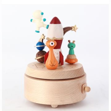 Jeancard台湾木质旋转欢乐太空奇航音乐盒八音盒创意儿童生日礼物