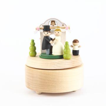 Jeancard台湾木质旋转婚礼教堂音乐盒八音盒送女生结婚新婚情人节生日礼物