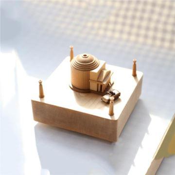 Jeancard台湾木质旋转小汽车万神殿八音盒音乐盒创意生日情人节礼物