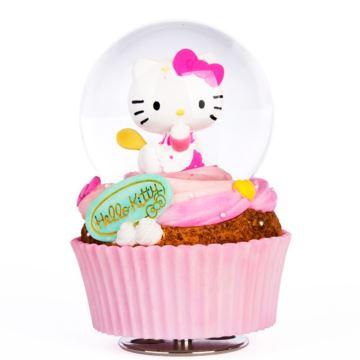 HelloKitty飘亮片雪花旋转蛋糕水晶球八音盒音乐盒儿童节创意生日礼物