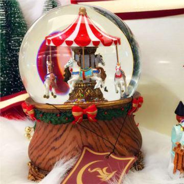 圣诞节旋转木马水晶球音乐盒带雪花八音盒送男女朋友礼物情人节高端礼品jarll赞尔