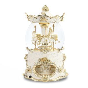 皇冠旋转木马水晶球音乐盒飘雪花豪华八音盒情人节生日礼物送男女生
