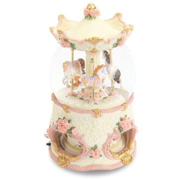 粉色豪华旋转木马水晶球音乐盒八音盒生日结婚礼物送男女生创意JARLL