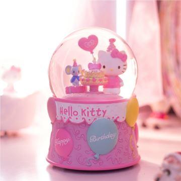 Jarll Hellokitty自動飄雪花循旋轉水晶球八音盒音樂盒創意生日禮物