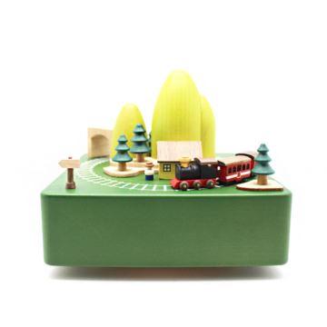 Jeancard木质绿色山洞火车旋转八音盒音乐盒创意生日情人节礼物送男生