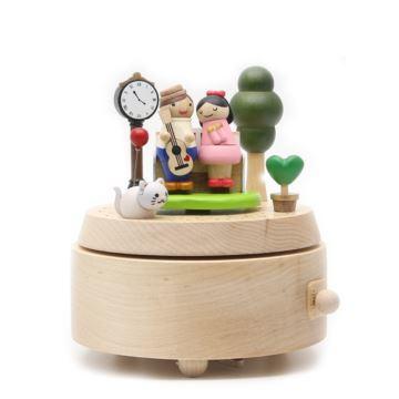 Jeancard木质爱的公园椅旋转八音盒音乐盒情人节结婚创意礼物送男女生
