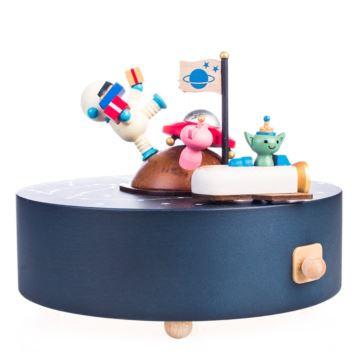 Jeancard木质太空旋转八音盒音乐盒创意生日情人节礼物送男女生