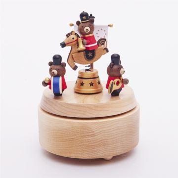 Jeancard木质小熊骑兵木质旋转八音盒音乐盒创意生日情人节礼物送男女