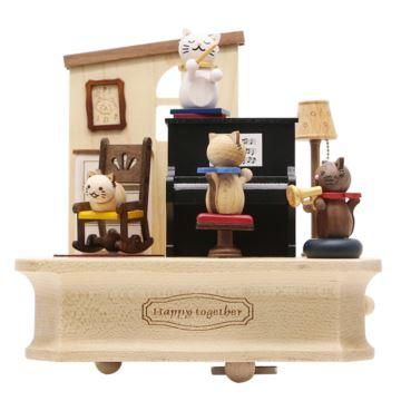 Jeancard木质猫咪钢琴旋转八音盒音乐盒创意生日礼物送男女生