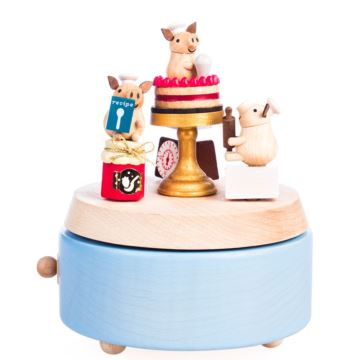 Jeancard木质小猪蛋糕旋转八音盒音乐盒创意生日情人节礼物送男女生