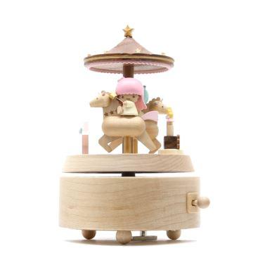 Jeancard木质旋转木马双子星情侣八音盒音乐盒情人节生日礼物送男女生