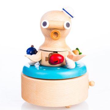 Jeancard木质章鱼旋转八音盒音乐盒创意生日礼物送男女朋友