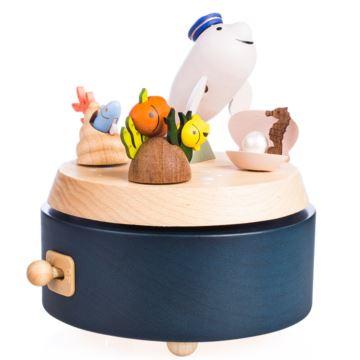 Jeancard木质白鲸旋转八音盒音乐盒创意生日礼物送男女生闺蜜