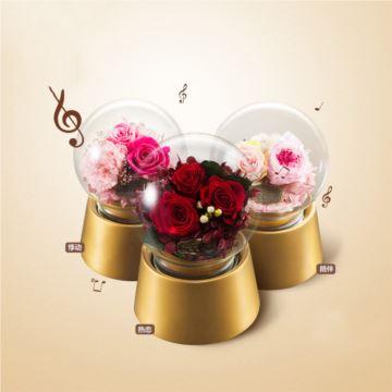 ILOVEST旋转永生花水晶球八音盒音乐盒创意生日结婚情人节礼物送男女生