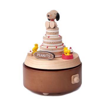 Jeancard木质旋转史努比生日蛋糕八音盒音乐盒创意生日礼物送男女生
