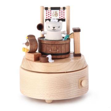 Jeancard台湾木质温泉小熊旋转八音盒音乐盒创意生日儿童礼物送男女生