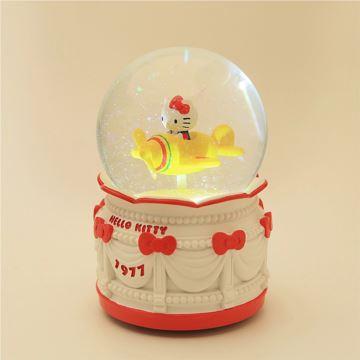 Jarll赞尔Hellokitty游乐场手摇飘亮片发光旋转水晶球八音盒音乐盒创意生日礼物