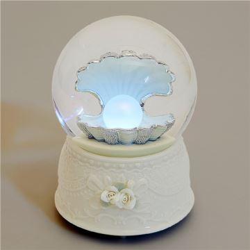 Jarll赞尔手摇飘亮片发光水晶球八音盒音乐盒珍爱一生创意结婚情人节礼物